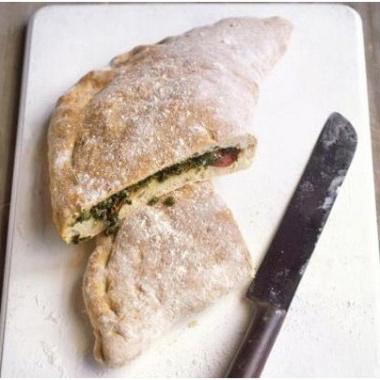 kale salami calzone